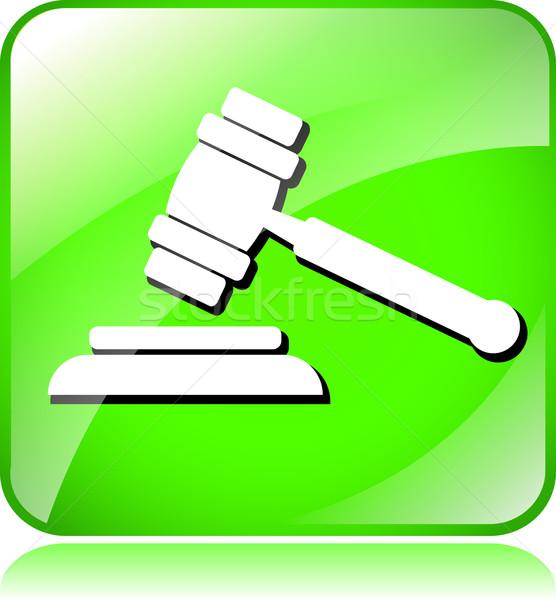 Veiling hamer icon illustratie groene witte Stockfoto © nickylarson974