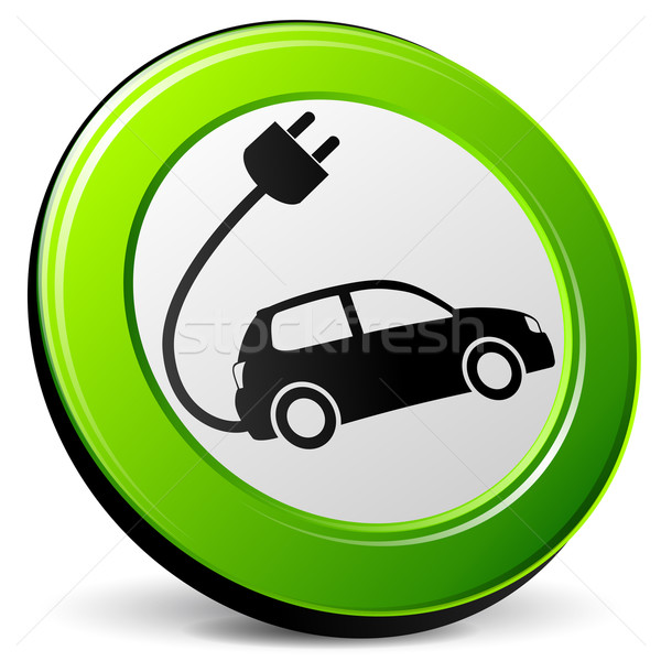 Elektrische auto groene icon illustratie witte auto Stockfoto © nickylarson974