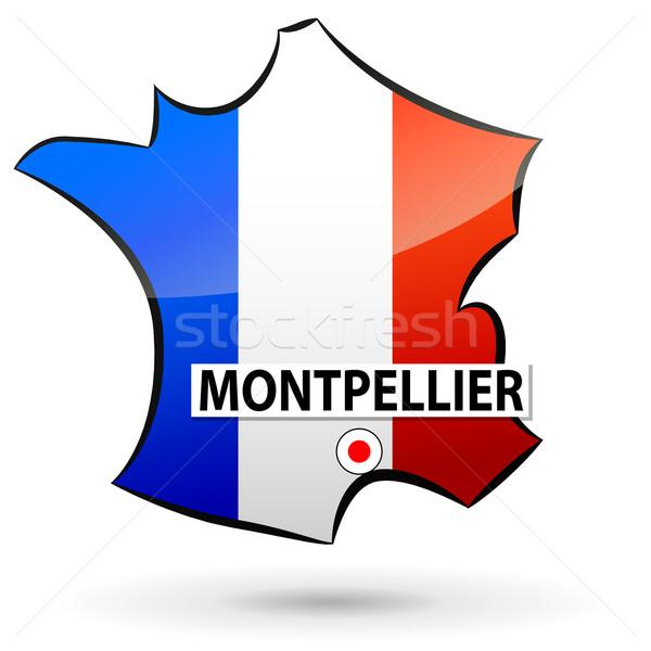 Stock fotó: Francia · ikon · illusztráció · térkép · út · terv