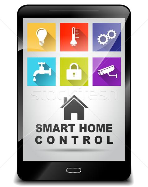 Smart home Kontrolle Illustration Smartphone Licht Stock foto © nickylarson974