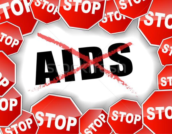 Stop aiuti abstract rosso bianco preservativo Foto d'archivio © nickylarson974