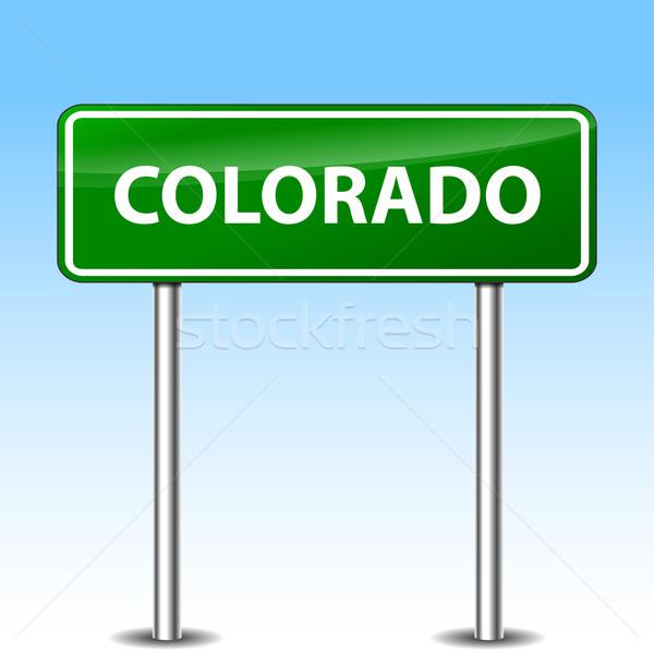 Stok fotoğraf: Colorado · imzalamak · örnek · yeşil · Metal · yol · işareti