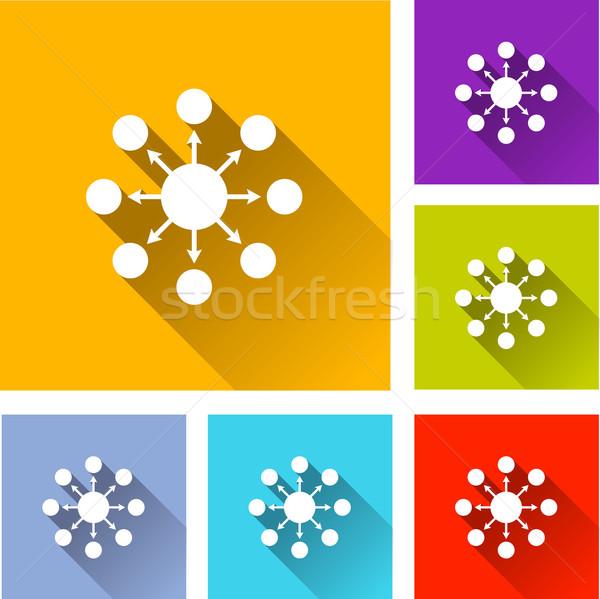 Stockfoto: Netwerk · iconen · illustratie · ontwerp · ingesteld · teken