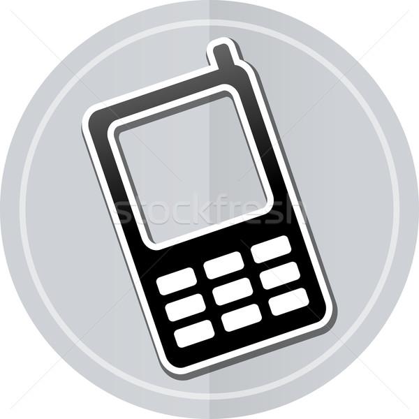 Foto stock: Teléfono · móvil · etiqueta · icono · ilustración · simple · diseno