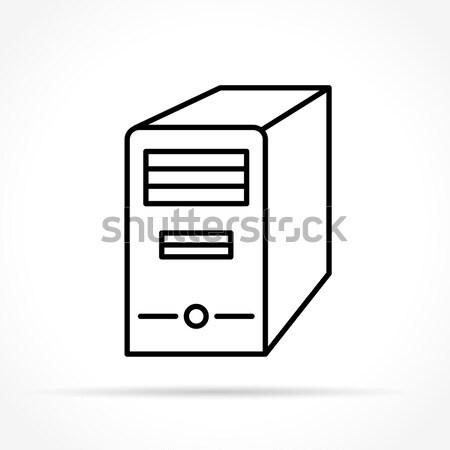 Számítógép ikon illusztráció számítógép fekete ezüst ikon Stock fotó © nickylarson974