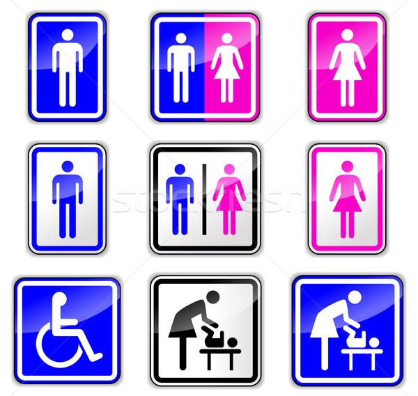 restroom signs on white background Stock photo © nickylarson974
