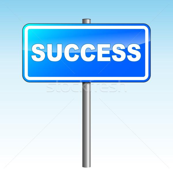 Vektör başarı tabelasını mavi gökyüzü iş Stok fotoğraf © nickylarson974