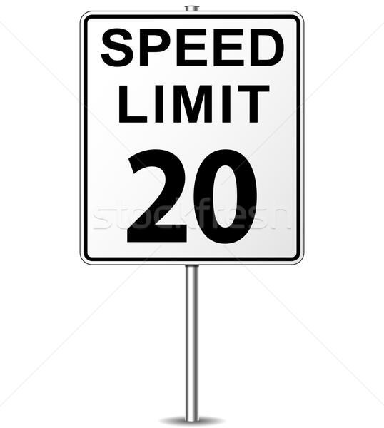 Vektor Geschwindigkeitsbegrenzung Zeichen zwanzig Wegweiser Straße Stock foto © nickylarson974