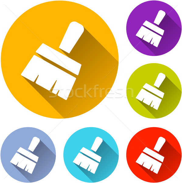 Ecset ikonok hat színes terv felirat Stock fotó © nickylarson974