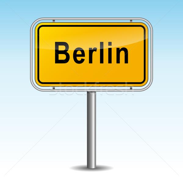 Vektör Berlin tabelasını gökyüzü şehir dizayn Stok fotoğraf © nickylarson974