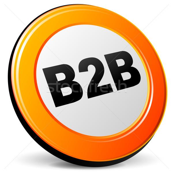Wektora b2b ikona pomarańczowy 3D działalności Zdjęcia stock © nickylarson974