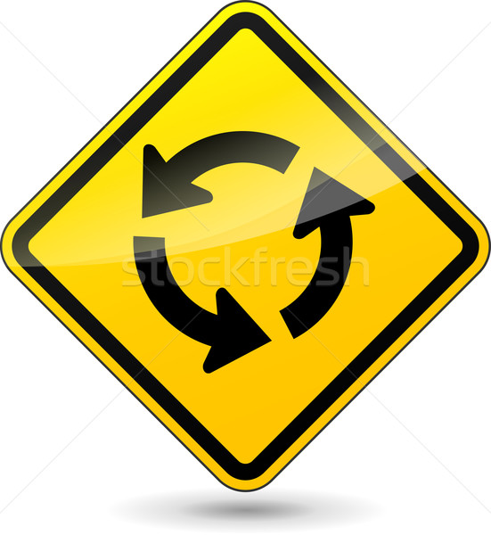 Vector roundabout yellow sign Stock photo © nickylarson974