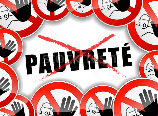 Nem szegénység illusztráció francia fordítás stop Stock fotó © nickylarson974