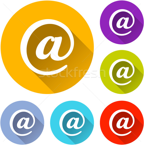 Six mail icônes illustration blanche affaires Photo stock © nickylarson974