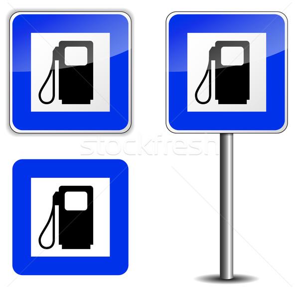 бензина дорожный знак белый дороги фон металл Сток-фото © nickylarson974