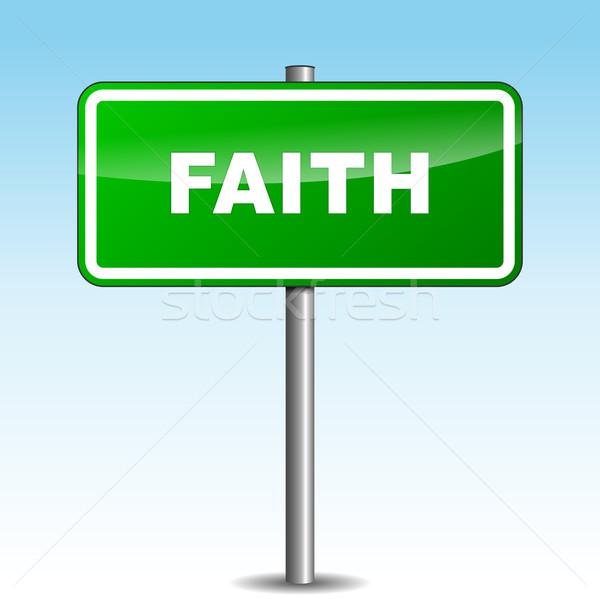 Vektör inanç tabelasını gökyüzü yol soyut Stok fotoğraf © nickylarson974