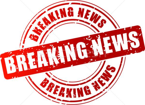 Vector breaking news stempel Rood witte krant Stockfoto © nickylarson974