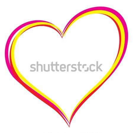 Kalp resim çocuk gökkuşağı kırmızı kart Stok fotoğraf © nickylarson974