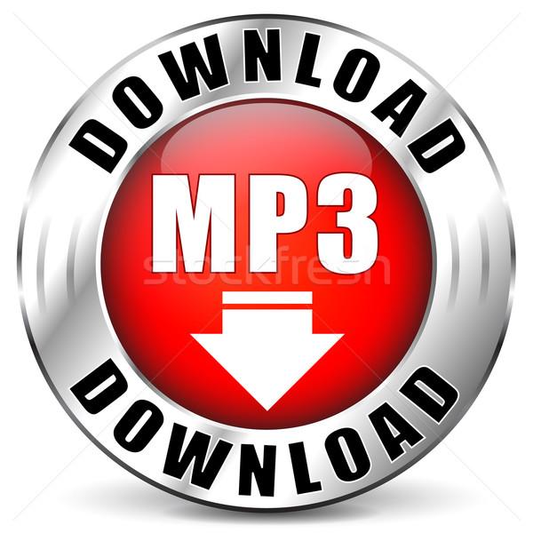 Vektor mp3 piros ikon letöltés háló Stock fotó © nickylarson974
