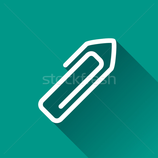 Paperclip icon illustratie schaduw business kantoor Stockfoto © nickylarson974