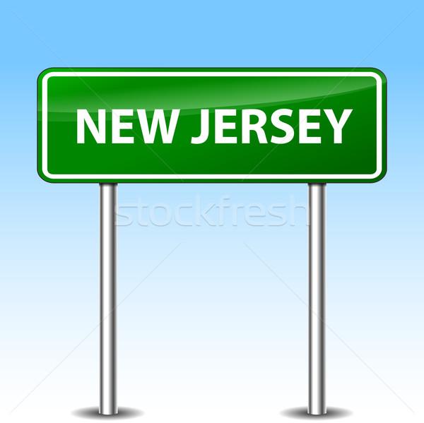 New Jersey groene teken illustratie metaal verkeersbord Stockfoto © nickylarson974