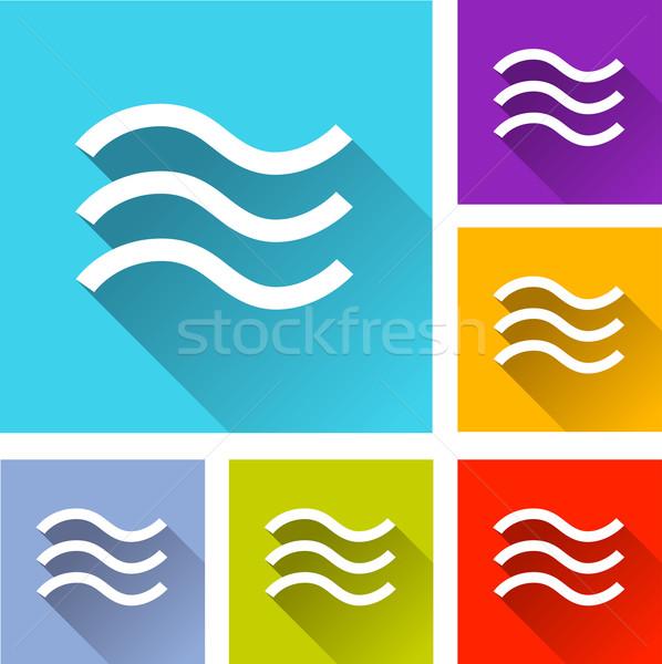 наводнения иконки иллюстрация дизайна набор оранжевый Сток-фото © nickylarson974