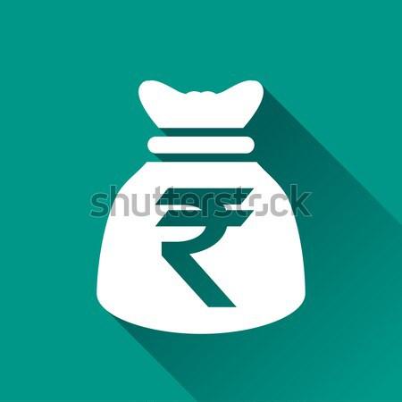 rupee blue square icon Stock photo © nickylarson974