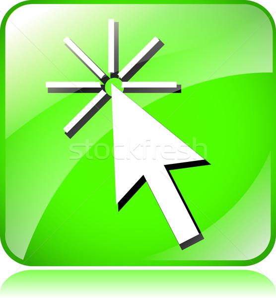 Groene cursor icon illustratie witte teken Stockfoto © nickylarson974