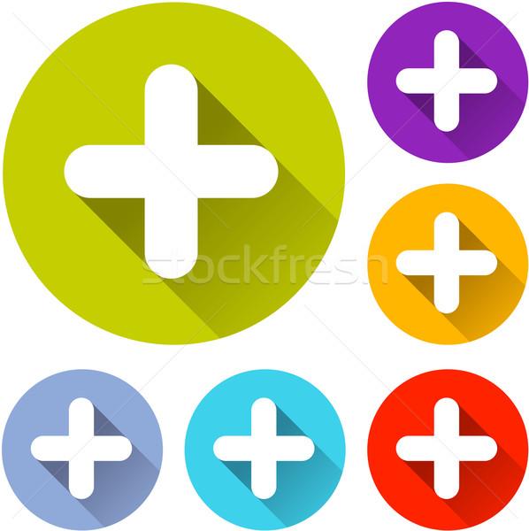 иконки шесть красочный дизайна оранжевый Сток-фото © nickylarson974