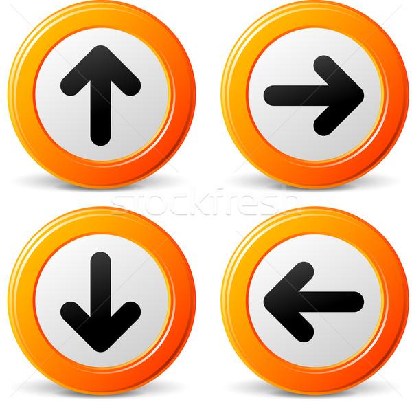 Сток-фото: вектора · оранжевый · Стрелки · иконки · навигация · набор