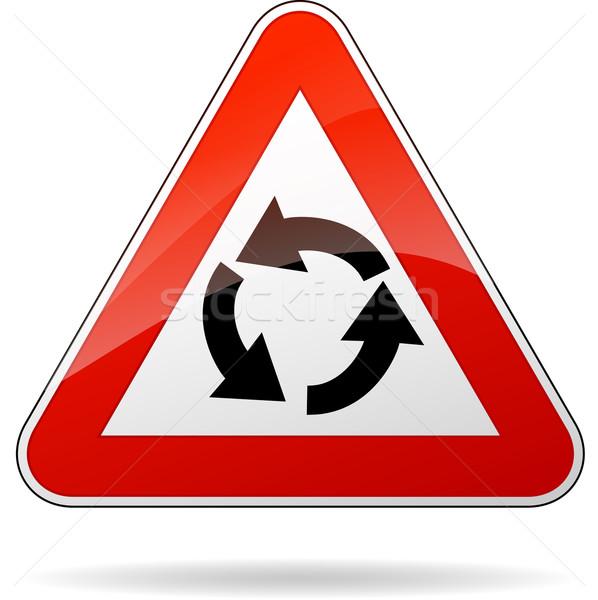 Vector rotonde teken driehoek verkeersbord auto Stockfoto © nickylarson974