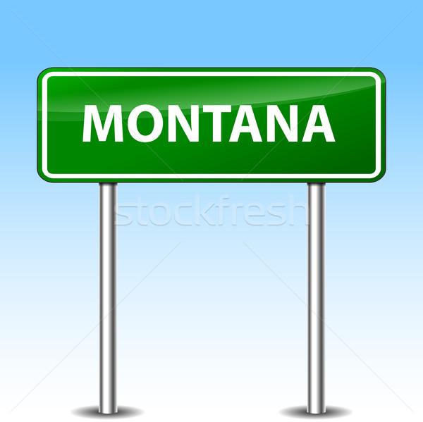 Montana verde segno illustrazione metal cartello stradale Foto d'archivio © nickylarson974