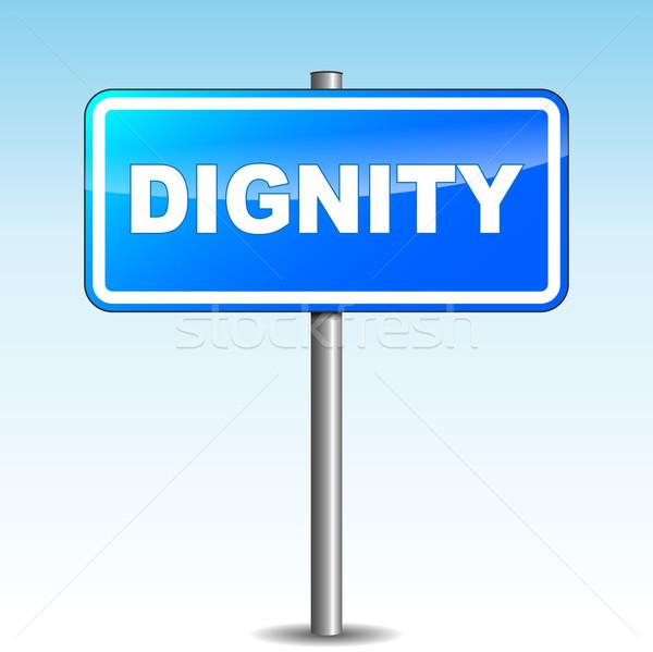 Vetor dignidade poste de sinalização azul céu assinar Foto stock © nickylarson974