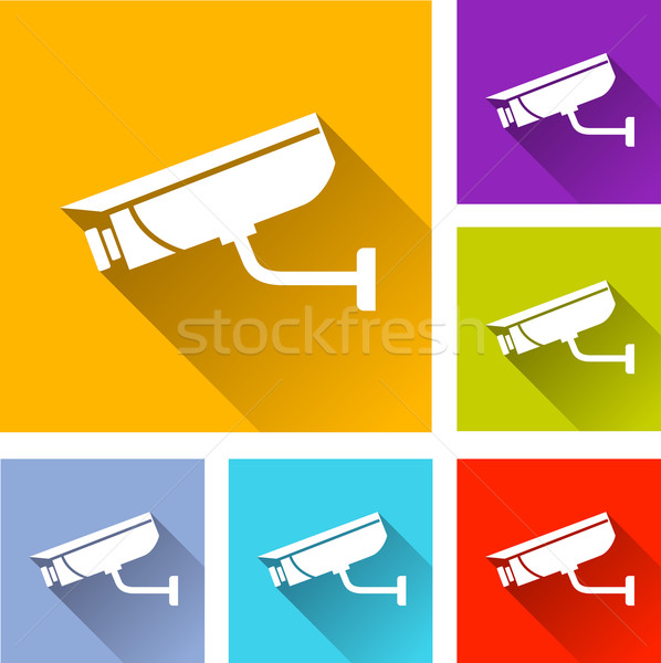 video surveillance icons Stock photo © nickylarson974