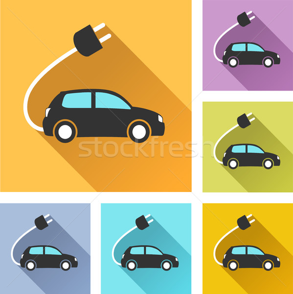 Elektrische auto ingesteld iconen illustratie kleurrijk ontwerp Stockfoto © nickylarson974