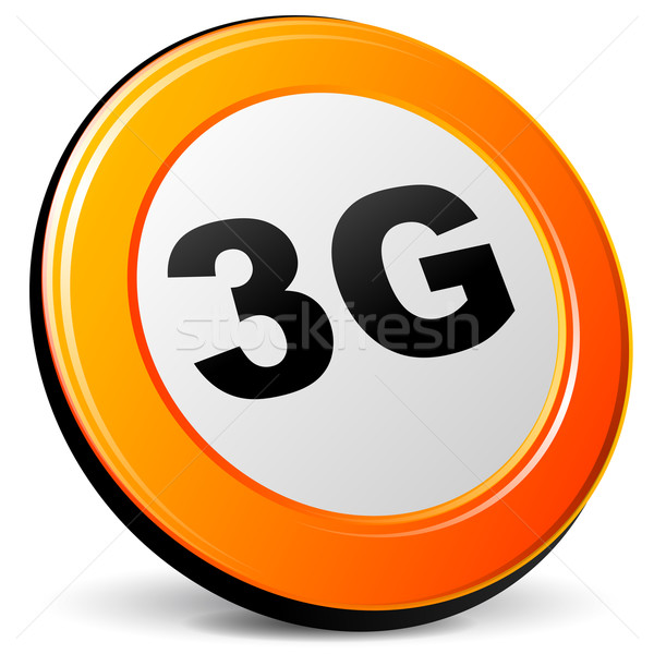 Vector 3g icon oranje 3D internet Stockfoto © nickylarson974