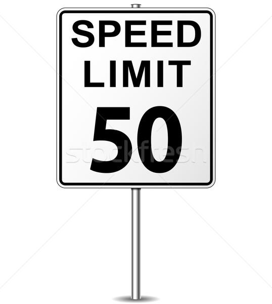 Vetor limite de velocidade assinar cinqüenta poste de sinalização estrada Foto stock © nickylarson974