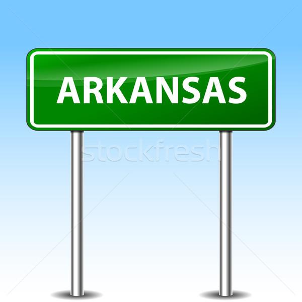 Arkansas zöld felirat illusztráció fém jelzőtábla Stock fotó © nickylarson974