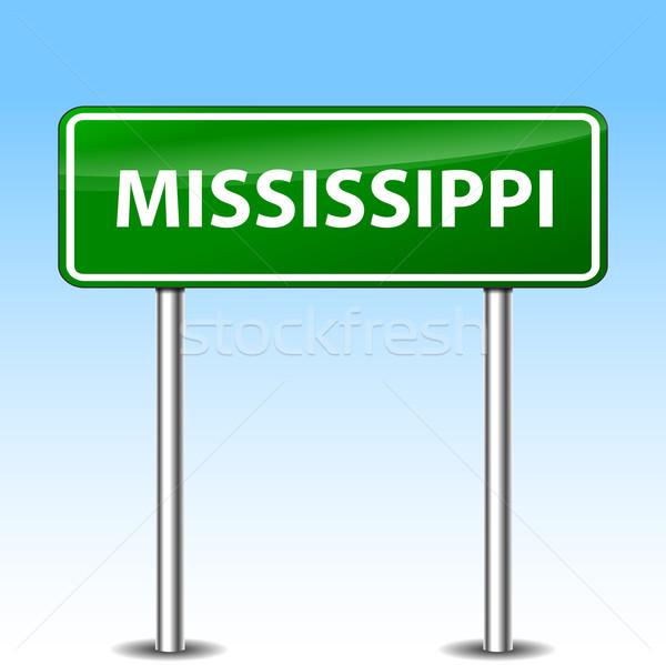 Mississipi yeşil imzalamak örnek Metal yol işareti Stok fotoğraf © nickylarson974