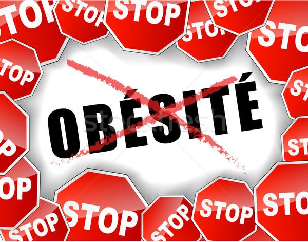 Stop otyłość francuski streszczenie projektu zdrowia Zdjęcia stock © nickylarson974