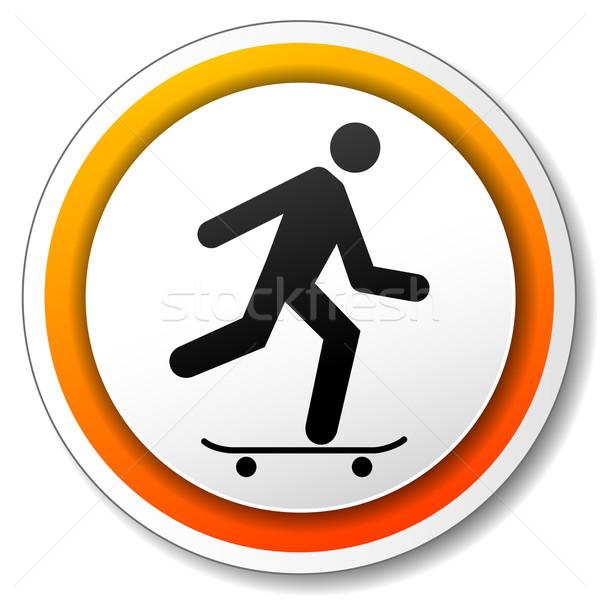 Gördeszka narancs ikon illusztráció fehér sport Stock fotó © nickylarson974