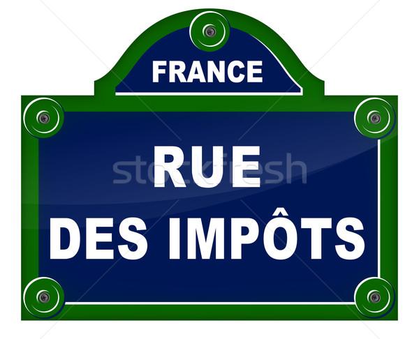 Straat teken frans vertaling straat Blauw Stockfoto © nickylarson974