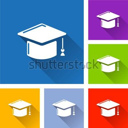 ストックフォト: 学校 · アイコン · コレクション · 異なる · 色 · 教育