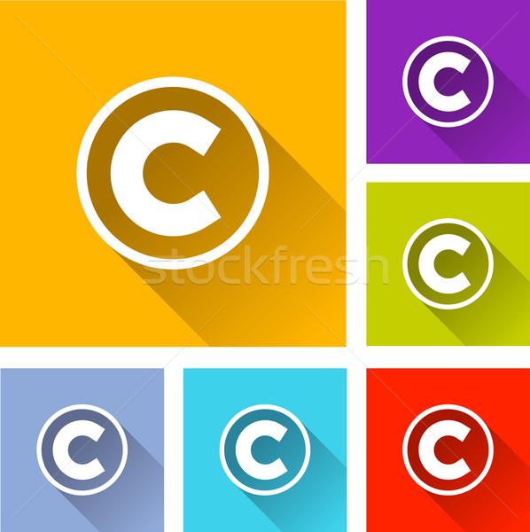 Szerzői jog ikonok illusztráció terv szett narancs Stock fotó © nickylarson974