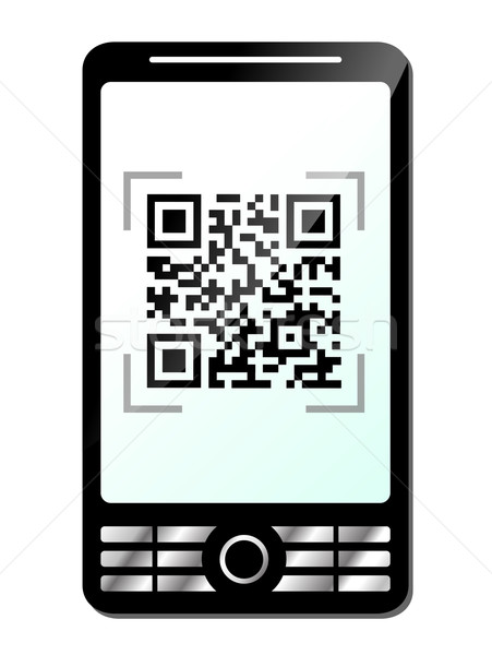 電話 qrコード 白 手 技術 携帯 ストックフォト © nickylarson974