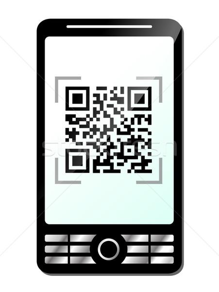 Telefoon qr code witte hand technologie mobiele Stockfoto © nickylarson974