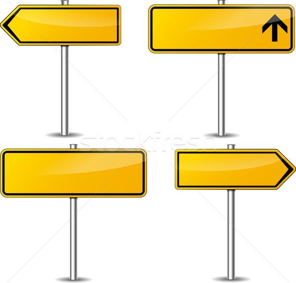 Vector yellow signpost set Stock photo © nickylarson974