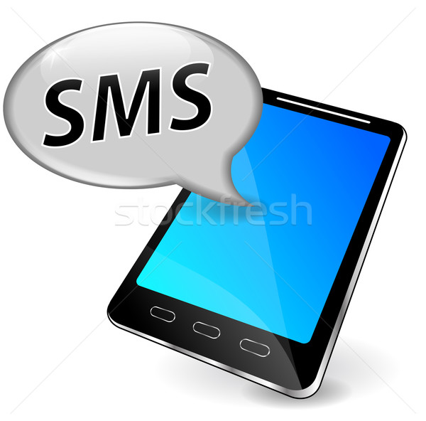 Vektor sms mobiltelefon szövegbuborék üzlet internet Stock fotó © nickylarson974