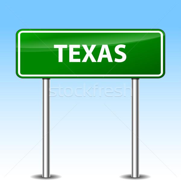 テキサス州 にログイン 実例 緑 金属 道路標識 ストックフォト © nickylarson974