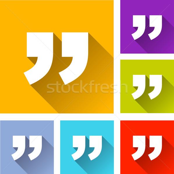 quotation marks icons Stock photo © nickylarson974